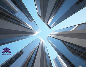 3D asset Futuristic Sci-Fi Skyscraper 03 set