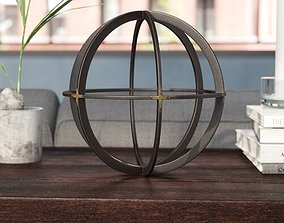 3D model Gunmetal-Gold Gaston Orb Sphere Sculpture