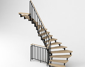 Stair - Modern Open Stairs and Railing 3D model