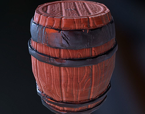3D model low-poly cartoon Barrel