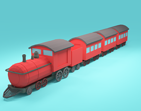 low-poly Low-poly cartoon Train 3d model
