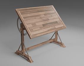 Wooden Drafting Desk 3D