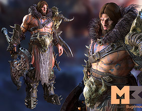 Barbarian RPG 3D asset animated
