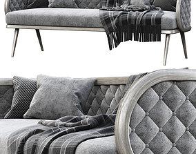 3D model Victoria velour three-seater restaurant sofa