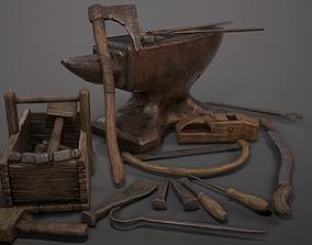 Medieval Craftsman Tools 3D asset