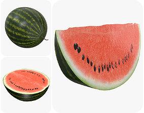 Realistic watermelon whole half sliced 3D model PBR