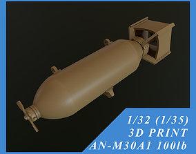 US GP BOMB AN-M30A1 100LB 1-32 1-35 3D print model