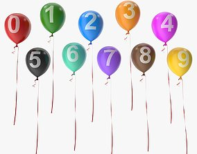3D asset Number on Balloons