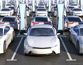 Parking with electric cars charging 3D