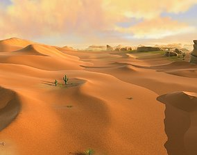 desert sand desert oasis wilderness 3D asset low-poly