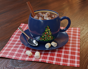 Hot chocolate drink with marshmallows 3D model