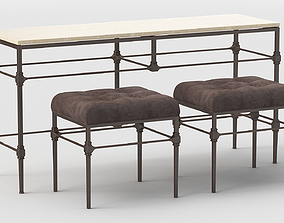 3D Grayson Bench and Table by Bernhardt