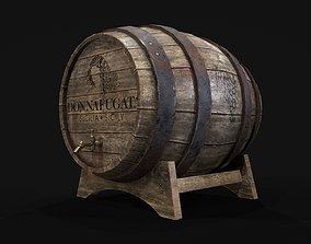 game-ready Old Wooden Barrel PBR Textures Low Poly 3D