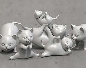 kitty 3D print model 3D asset cats Low-poly