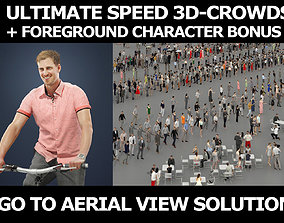 3d crowds and Mistery foreground Smart Man Bike Bicycle