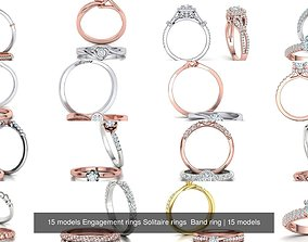 15 models Engagement rings Solitaire rings Band ring 3D
