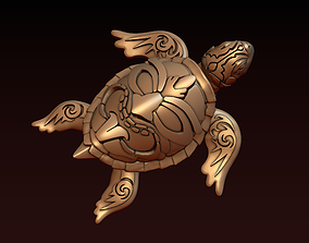 Turtle with Tiki Mask Ornament 3D printable model