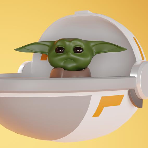 Simple Cartoon Model of The Mandalorian and Baby Yoda