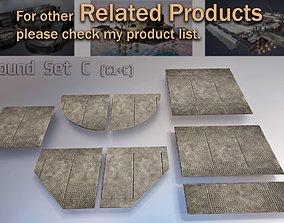 sci fi Concrete floor modular kit - set C - 3D model