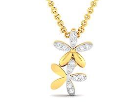 diamond gold Women pendant 3dm render detail