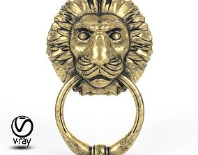 3D model Door handle in the form of a lion head with a
