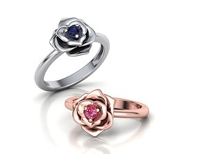 Rose Ring Engagement ring with 3mm stone
