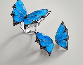 Headset butterflies ring and earrings 3D print model