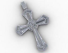 3D printable model Cross Gold Pendant Full Diamond 4