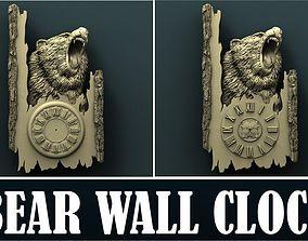 Bear wall clock 3d stl model for cnc