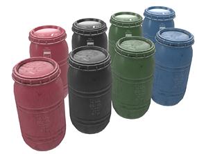 3D model Game-ready Plastic Barrel - 4 different texture