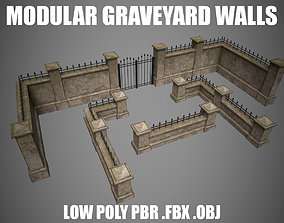 Graveyard modular walls set 3D model