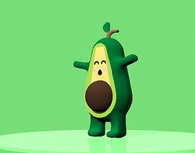 3D asset Low Poly Cute Avocado