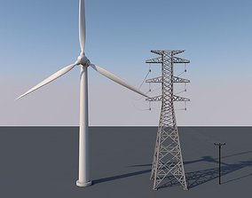 Wind turbine 3D asset low-poly