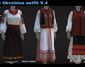 3D Female Ukrainian outfit V4 3 different outfits