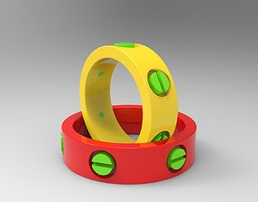 3D printable model precious Rings with bolt heads
