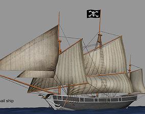 3D Lugger sail ship