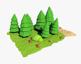 Cartoon fir tree 3D model