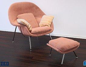 Modern Chair and Ottoman 3D rug