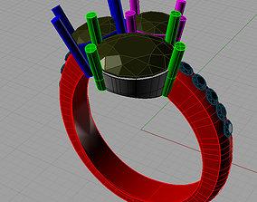3D print model Diamond Trilogy stone anello trilogy pave