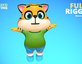 3D asset VR / AR ready Tiger Cat Animated Rigged