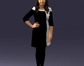 Girl in black and white dress 0190 3D Print Ready