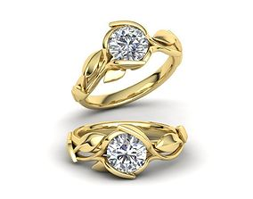 Floral Design Engagement Ring 1ct Stone delicate 3d