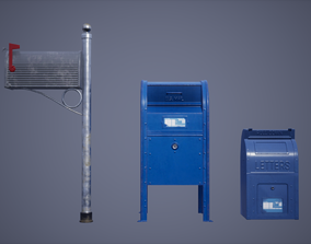 3D model Mail Box Set Low Poly Game Ready