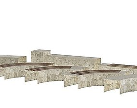 White Stone Garden Edging 3D model