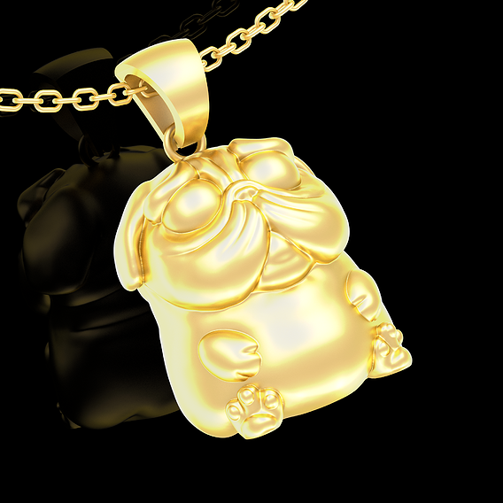 Doggy pug Pendant jewelry Gold 3D print model