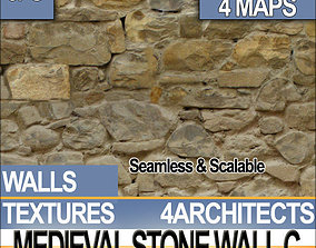 3D model Medieval Stone Wall C