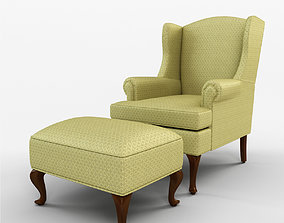 3D Damask Wingback Chair with Ottoman design