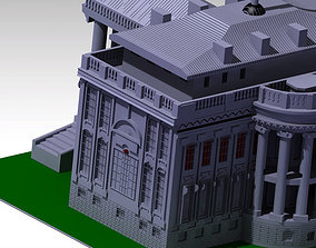 3D White house building