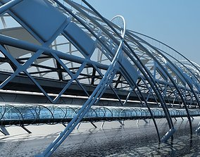 Futuristic Suspension Bridge 2 3D model