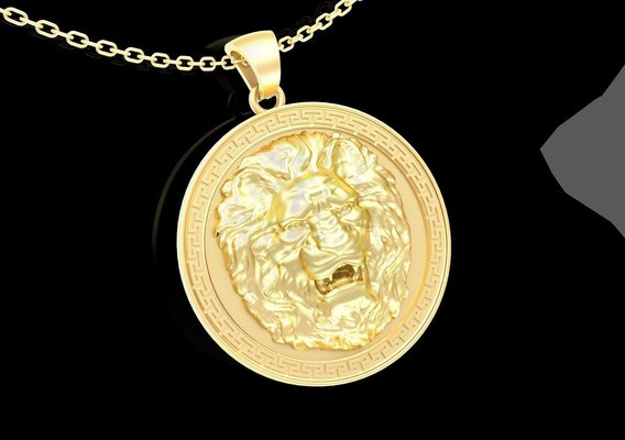 Lion Bust Pendant jewelry Gold 3D print model